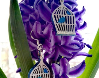 Сarved earrings Bird in a cage Wooden earrings Gift for her For woman Wooden decorations Handmade original Wooden accessories Metallic Gray