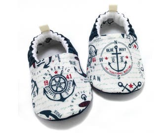 Nautical Baby Shoes, baby moccs, Toddler moccasins, Nautical baby gift, Soft sole shoes, Anchor Baby Booties, Baby shower gift, Coast Guard