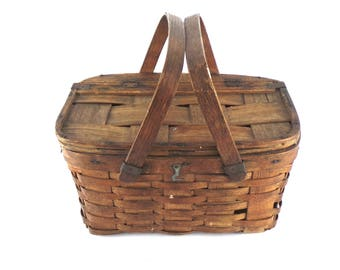 Vintage 1940's Oak & Ash Picnic Basket, Vintage Small Split Oak Weave Picnic Basket, Bent Wood Handle