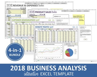 Business Analysis Bundle - 2018 | Excel Templates | Revenue Expenses Profit Sales Customer Data Traffic Reporting | Instant Digital Download