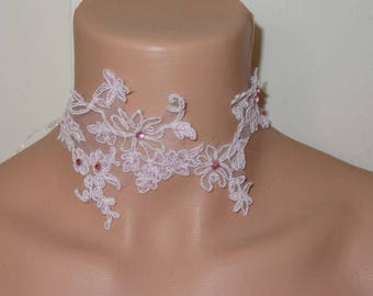 unique Pink Rhinestone piece lace Choker necklace! wedding