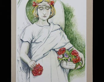Angel with Roses Sympathy Note Card, Art Card from Drawing by Karlene Voepel
