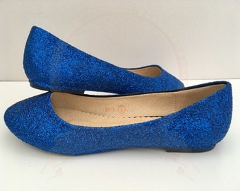 Dark blue Glitter Flats - Glitter Pumps - Ballerina Pumps - Something Blue - Bridal - Wedding - Bridesmaid - Prom - Party - UK size 3-8