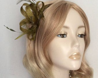 OLIVE GREEN FASCINATOR, crystal and pearl detail, feathers, on a comb
