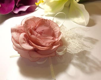 Lace wedding your pale pink satin flower hair clip * 3 lace *.