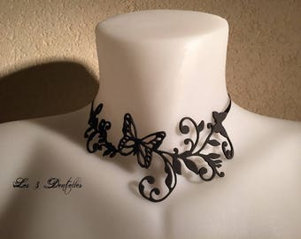 Tattoo wedding pattern black Butterfly Necklace * 3 lace *.