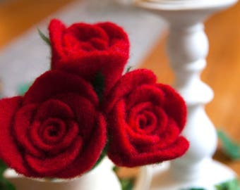 Needle Felt Red Rose.