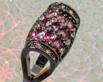Black Ruthenium Plated Pink Raspberry Rhodolite Garnet Barrel Design Ring, US Sz 6, Free Shipping
