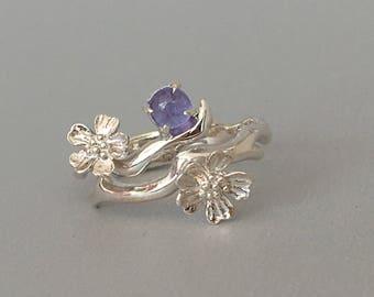 Tanzanite Ring / Sakura Ring / Tanzanite Ring / Flower sterling silver ring / Cherry blossom ring