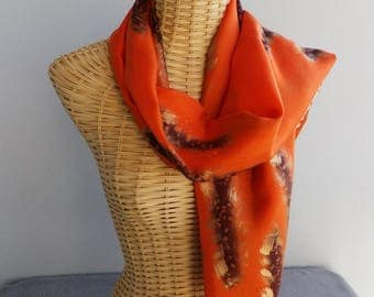 Scarf shawl silk flame, caramel and or@evysoie