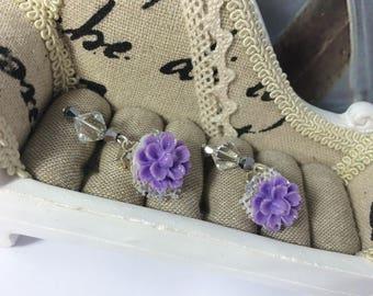 d-rings ' Silver dalhias earrings purple