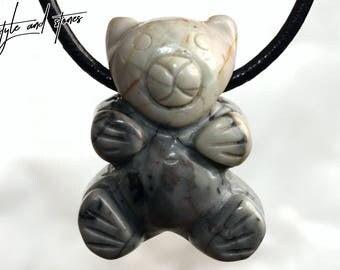 Picasso marble (bear) on leather strap / cotton cord (necklace)