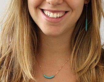 SUMMER SLE Turquoise necklace , Beaded Bar Necklace, Gold and turquoise, 14k Gold Filled Dainty Necklace, Layered Necklace,
