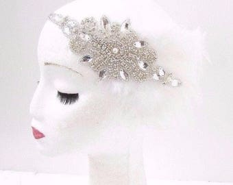 White Silver Feather Headband 1920s Flapper Headpiece Great Gatsby Vintage 3841