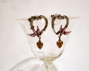 Vintage Hearts and Birds Earrings
