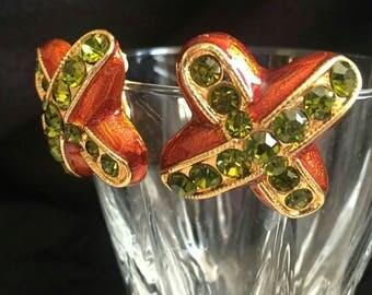 Orange shimmering green rhinestone Crystal cross earrings kiss earrings X big chunky gold tone enamel earrings vintage clip on earrings