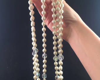Vintage: 3 strand pearl and crystal necklace.