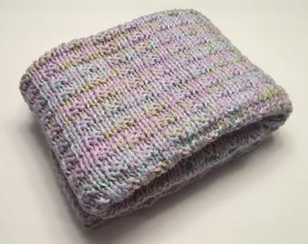 Hand knit purple,blue,green baby blanket/machine washable hand knitted baby blanket/car seat baby blanket/stroller baby blanket/crib blanket