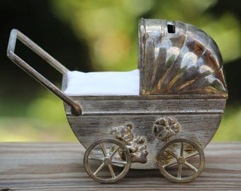 Silver Plated Baby Carriage, Pram Money Bank