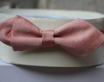 Pink silk bowtie