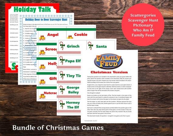 Christmas Printable Games Bundle Lot Of 5 Family Feud Pictionary
