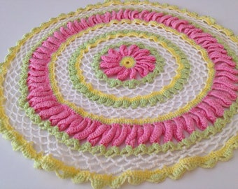 Pink Crocheted Doily, Vintage Pink Yellow White Doily, Handmade Crochet Doily, Pink Yellow Crocheted Doily, Pink Yellow Decor, Pink Bedroom