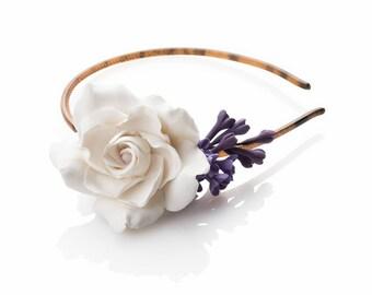 Headband with gardenia and lilac flowers / single