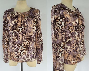 Vintage Leopard Print Blouse, Evening Blouse, Leopard Print, Size 6 8
