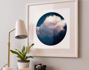 Instant Download Clouds Print, Printable Art, Digital Download, Round Painting Photo, Print, Cloudscape Print