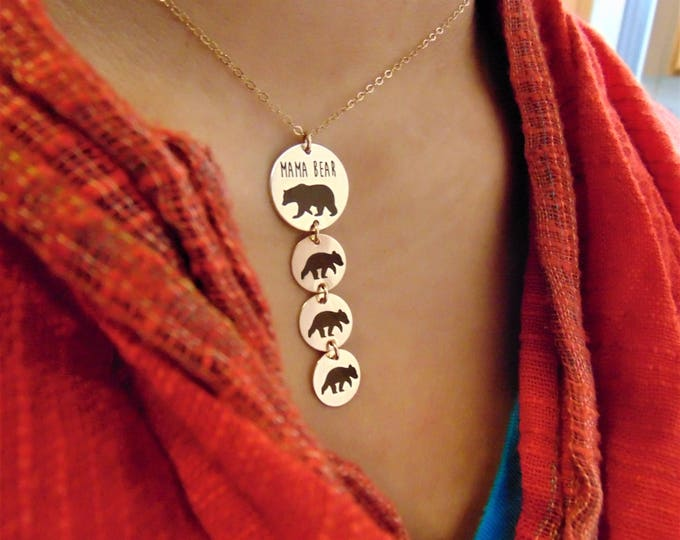 Mama Bear And Baby Bear Necklace & Pendants In Sterling Silver Add a Baby Bear for each Child! Gift For Mom Christmas gift
