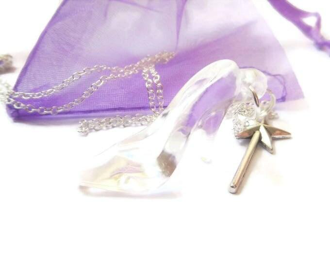 "GLASS SLIPPER CINDERELLA inspired 20"" silver tone charm necklace princess gift xmas jewellery Uk"