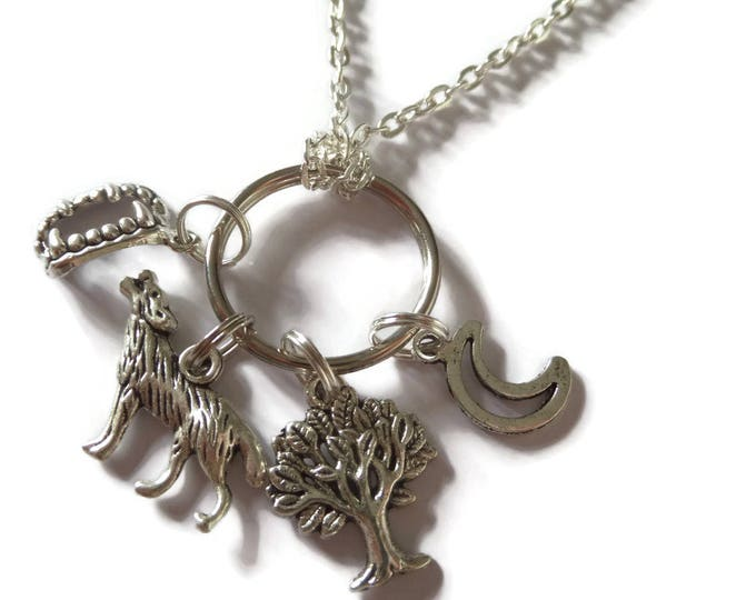 "Vampire inspired tree wolf fangs moon silver tone 4 charm necklace 24"" chain fan gift jewellery Uk"