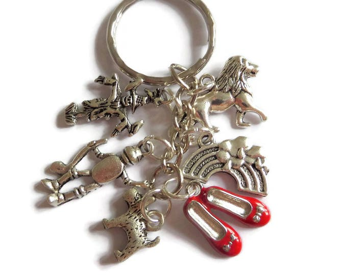WIZARD OF OZ inspired silver 6 charm keyring dorothy rainbow fan gift jewellery party favours Uk