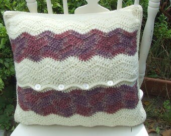 Crochet cushion, Ripple Stitch, Scatter Cushion, Envelope Cushion, Pure Wool