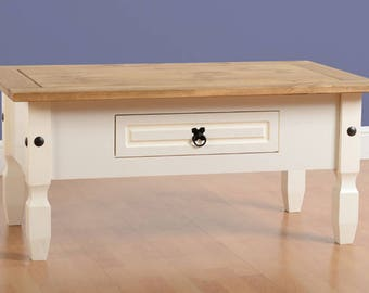 Corona 1 Drawer Coffee Table Painted White Distressed Waxed Pine