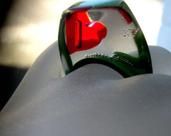Ring made of resin green meadow and Red Swarovski heart