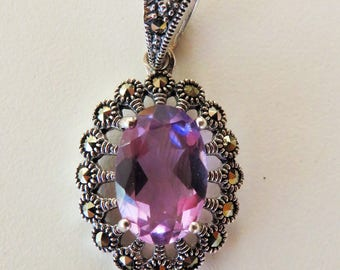 Vintage solid 925 silver pendant with amethyst and marcasites - sunny summer jewelry - marked