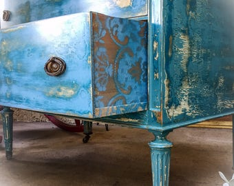 Large, French Antique Dresser, blue, shabby chic dresser, distressed, highboy dresser, painted, french country dresser,  farmhouse furniture