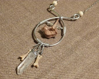 Fox Bone and Crystal Assemblage Necklace
