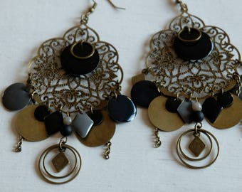 Large Earrings - Bold - black & grey