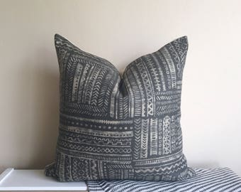 Dark Gray & Taupe Linen Pillow Cover 18x18