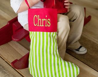 Red and Green Stripe Christmas Stocking - monogram stocking - personalized Christmas stocking - christmas gift - family name stocking - xmas