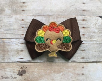 Thanksgiving Bow - Turkey Bow - Thanksgiving Hair Bow - Turkey Hair Bow - Toddler Hair Bow - Baby Hair Bow - First Thanksgiving Outfit