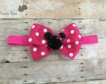 Minnie Mouse Headband - Minnie Mouse Bow - Disney Bows Headband - Baby Headband - Disney Headband - Disney Bow - Minnie Mouse Hair Bow