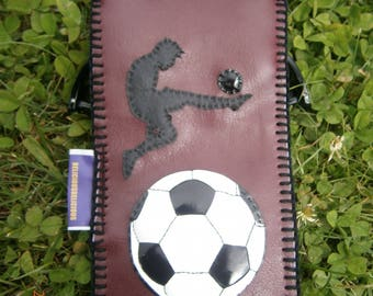 """Original """"case has glasses of Sun""""FOOTBALL""""with logo in Burgundy size 19cm X 9 cm"""