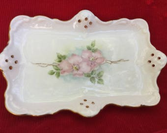 VINTAGE PORCELAIN, SHABBY Rose, Vanity Tray, Hand Painted China, Pierced Dish
