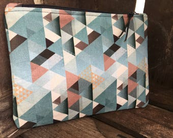 Cosmetic bag, 20 x 14 cm, geometric pattern, petrol