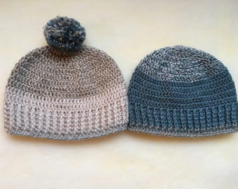 ready to ship Blue and Beige crochet beanies - Necco Wafer