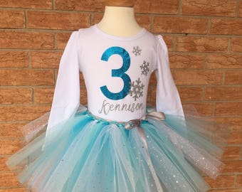 Girl's third birthday outfit, Third birthday shirt for girls, 3rd birthday, number 3 shirt, snowflake birthday outfit, 3rd birthday frozen