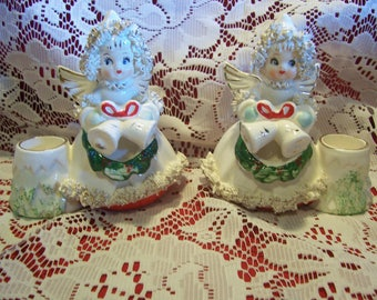 Commodore Lace Angel Candle Holders, Japan